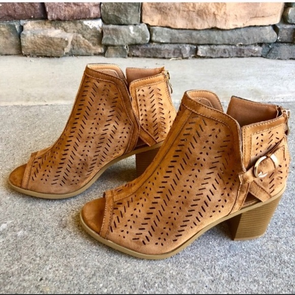 f40c253dadf8a Shoes | Tan Vegan Leather Boho Laser Cut Ankle Boots | Poshmark